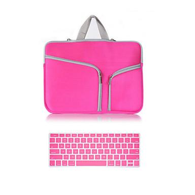 mais vendidos bolsa com zíper de lona cor sólida com a tampa do teclado para macbook retina 13,3