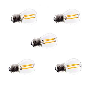 HRY 5pcs 3W 360 lm E26/E27 LED필라멘트 전구 G45 4 LED가 COB 밝기조절가능 장식 따뜻한 화이트 차가운 화이트 AC 220-240 V