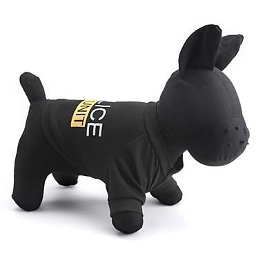 고양이 / 개 티셔츠 블랙 강아지 의류 여름 경찰/군인 패션