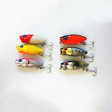 6 τεμ Popper Atrăgătoare Pescuit Popper Σκληρό Πλαστικό Θαλάσσιο Ψάρεμα Ψάρεμα Γλυκού Νερού Ψάρεμα Πέρκας