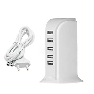 EU csatlakozó Telefon USB töltő Multi port cm Outlets 5 USB port 2.1A 2A 1A 0.5A AC 100V-240V
