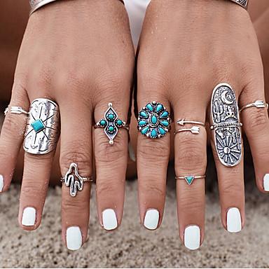 Női Ujjperc gyűrű - Ezüstözött, Türkiz, Ötvözet Személyre szabott, Vintage, Bohém 7 Ezüst Kompatibilitás Esküvő / Parti / Ajándék