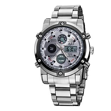 זול שעוני גברים-ASJ בגדי ריקוד גברים שעוני ספורט שעון יד שעון דיגיטלי Japanese קווארץ מתכת אל חלד לבן 30 m עמיד במים כרונוגרף LCD אנלוגי-דיגיטלי אופנתי שעוני שמלה - לבן שחור כחול שנתיים חיי סוללה / אזור זמן כפול