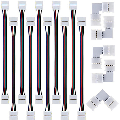 10PCS 5050 RGB 스트립 조명 커넥터 5050 RGB를위한 5PCS 빠른 스플리터 커넥터, 10mm의 L 자형 4 도체