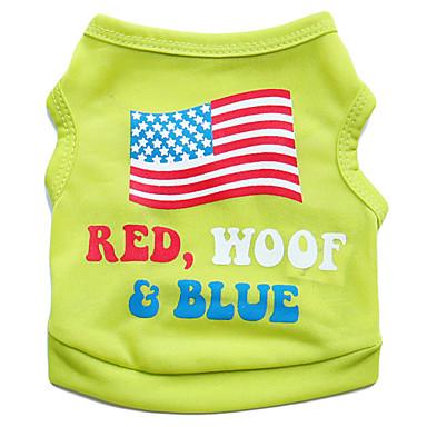 고양이 / 개 티셔츠 그린 / 블루 / 핑크 강아지 의류 여름 꽃 / 식물 / 국립 국기 패션