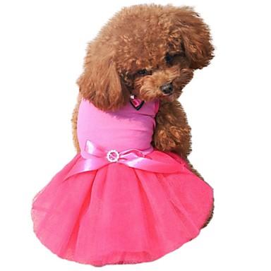 고양이 강아지 드레스 강아지 의류 귀여운 생일 컬러 블럭 리본매듭 크리스탈/라인석 블랙 옐로우 로즈 그린 블루 코스츔 애완 동물