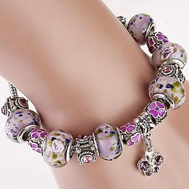 Breloque Charms Bracelet Bracelet à Perles Bracelet en cristal Femme Perlé Cristal Cristal dames Mode Bracelet Bijoux Violet pour Regalos de Navidad