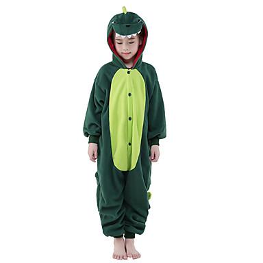 Pentru copii Pijama Kigurumi Dinosaur Animal Pijama Întreagă Lână polară Verde Cosplay Pentru Baieti si fete Sleepwear Pentru Animale Desen animat Festival / Sărbătoare Costume