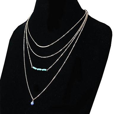 목걸이 체인 목걸이 보석류 일상 / 캐쥬얼 패션 합금 / 터키석 골든 1PC 선물