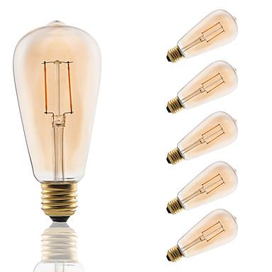 GMY® 6db 180 lm E26/E27 Izzószálas LED lámpák ST64 2 led COB Dekoratív Borostyánsárga AC 220-240 V