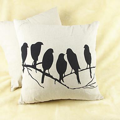 szt Cotton / Linen Pokrywa Pillow, Wzór zwierzęcy Wzory graficzne Na co dzień