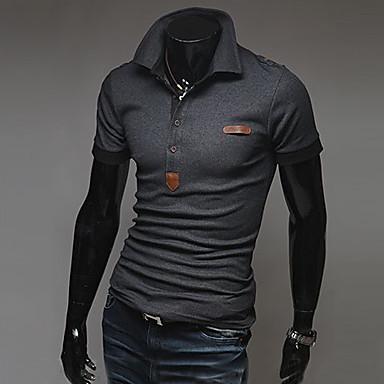 economico Abbigliamento uomo-Polo Per uomo Sport Tinta unita Cotone Bianco L / Manica corta / Estate