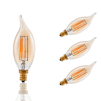 3.5 E12 Izzószálas LED lámpák B 4 COB 300 lm Borostyánsárga Állítható / Dekoratív AC 110-130 V 4 db.