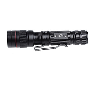 U'King ZQ-CJT08 LED손전등 LED 1000LM lm 3 모드 Cree XM-L T6 줌이 가능한 미니 조절가능한 초점 휴대성 밝기조절가능 캠핑/등산/동굴탐험 야외 블랙 실버 레드