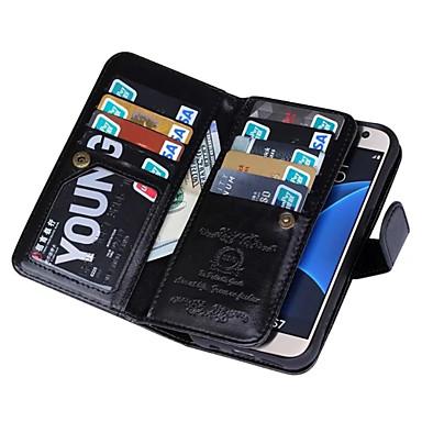 Недорогие Чехлы и кейсы для Galaxy S6 Edge-Кейс для Назначение SSamsung Galaxy S7 edge / S7 / S6 edge Кошелек Чехол Сплошной цвет Кожа PU