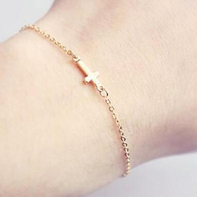 Femme Chaînes & Bracelets / Charmes pour Bracelets - Croix, Amis Style Simple Bracelet Or Pour Regalos de Navidad / Quotidien / Bureau et carrière