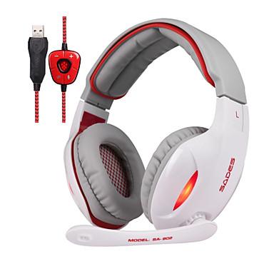 SADES SA902 귀 이상 머리띠 유선 헤드폰 동적 플라스틱 게임 이어폰 소음 차단 마이크 포함 볼륨 컨트롤 야광의 헤드폰