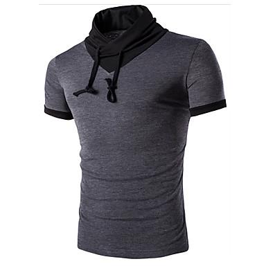 baratos Roupa de Homem Moderna-Homens Camiseta - Esportes Activo Sólido Algodão Colarinho Chinês Branco L / Manga Curta / Verão