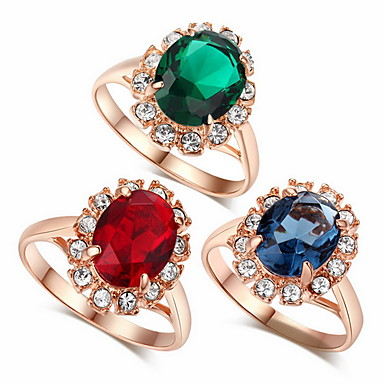 Női Nyilatkozat gyűrű - Cirkonium, Ötvözet Divat, Nyilatkozat 6 / 7 / 8 Piros / Zöld / Kék Kompatibilitás Esküvő / Parti / Évforduló