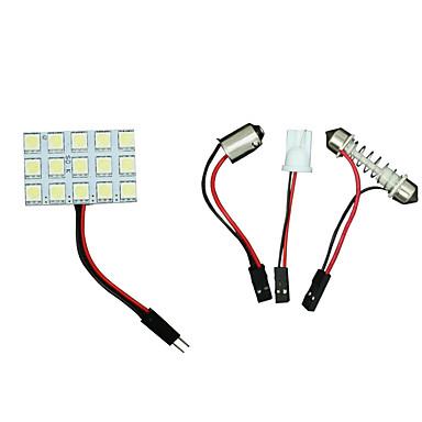2 x slinger t10 BA9S witte LED 5050 15smd paneel auto-interieur koepel kaart licht lamp