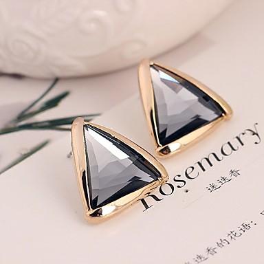 Női Beszúrós fülbevalók Kristály Divat Méretes ékszerek Szintetikus drágakövek Arannyal bevont 18K arany Triangle Shape Ékszerek
