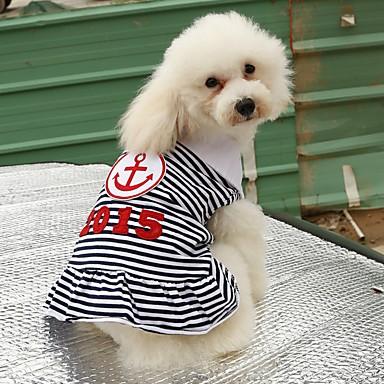 고양이 강아지 티셔츠 드레스 강아지 의류 캐쥬얼/데일리 세일러 레드 블루 코스츔 애완 동물