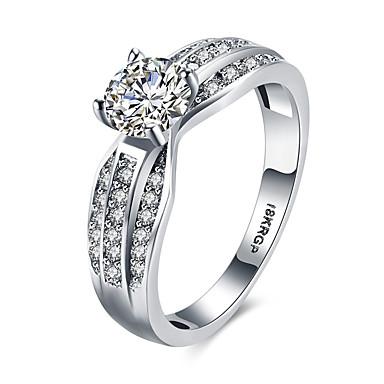 Női Ezüst Cirkonium Kocka cirkónia Hamis gyémánt Nyilatkozat gyűrű Band Ring - Személyre szabott Luxus Bohém Szerelem Szív Hipoallergén