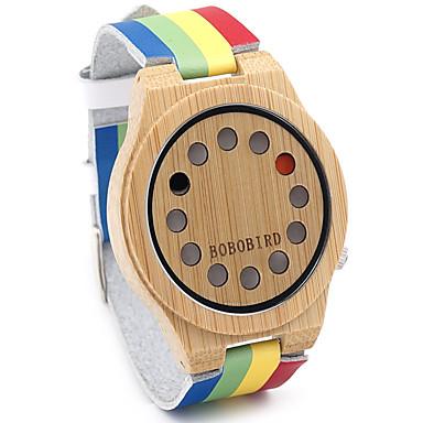levne Pánské-Pánské Náramkové hodinky Křemenný Japonské Quartz Kůže Vícebarevný Žhavá sleva / Analogové Vintage Na běžné nošení Duhová Módní Dřevo - Duhová Dva roky Životnost baterie