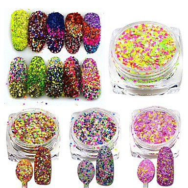 1pcs Köröm ékszer Flitter Egyéb dekorációk Klasszikus Szeretetreméltő Glitter & Sparkle Fény Esküvő Jó minőség Napi