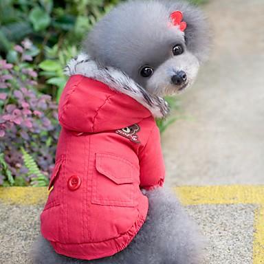 고양이 강아지 코트 후드 강아지 의류 따뜻함 유지 방풍 솔리드 레드 블루 코스츔 애완 동물