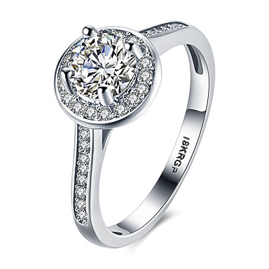 Női Nyilatkozat gyűrű Band Ring Fehér Szintetikus drágakövek Ezüst Cirkonium Kocka cirkónia Hamis gyémánt Circle Shape Geometric Shape