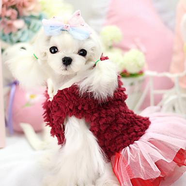 강아지 후드 드레스 강아지 의류 통기성 따뜻함 유지 패션 꽃 / 식물 퍼플 레드 코스츔 애완 동물