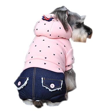 강아지 후드 점프 수트 강아지 의류 캐쥬얼/데일리 패션 포카닷 퍼플 그린 핑크 코스츔 애완 동물