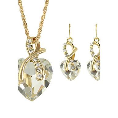 povoljno Modne ogrlice-Žene Sapphire Pasijans Nakit Set Umjetno drago kamenje Srce dame, Moda uključiti Okrugle naušnice Ogrlice s privjeskom Ogrlica / Naušnice Crvena / Zelen / Plava Za Vjenčanje Dar Dnevno Kauzalni
