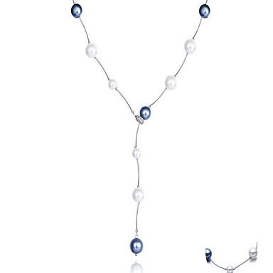 Női Strands nyakláncok Pearl Pászmák Biserna ogrlica Gyöngy Gyöngyutánzat Strassz Arannyal bevont utánzat Diamond ÖtvözetHip-Hop Szikla