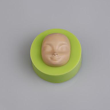 baba arca szilikon öntőforma fondant Cukorpasztát 3d csokoládé öntőforma torta dekoratőr színes random