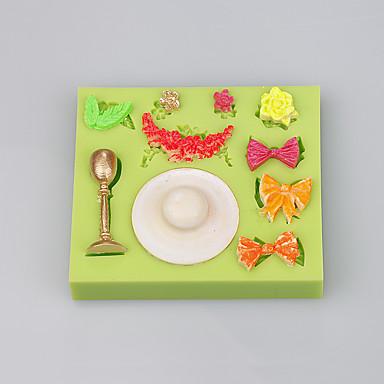 bowknot 모양 실리콘 케이크 금형 크리스마스 장식 실리콘 케이크 금형 ramdon 색상