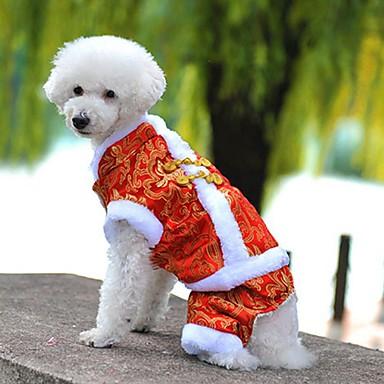 강아지 코트 점프 수트 강아지 의류 자수장식 옐로우 레드 블루 폴라 플리스 면 코스츔 애완 동물 남성용 여성용 휴일 패션 새해