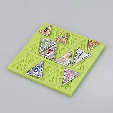음식 학년 실리콘 플래그 번호 모양 퐁당 케이크 금형 장식 도구 ramdon 색상