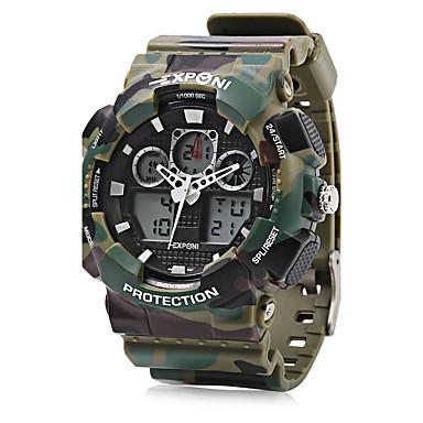 levne Pánské-EXPONI Pánské Sportovní hodinky Vojenské hodinky Náramkové hodinky Křemenný Silikon Černá / Bílá / Modrá 30 m Voděodolné Alarm Kalendář Analog - Digitál Luxus Na běžné nošení maskování Módní - Zelen
