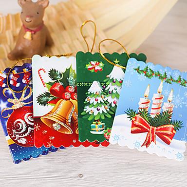 10PCS 크리스마스 트리 장식품 인사말 카드 카드 소원 카드 6 * 5.5cm 디자인은 랜덤