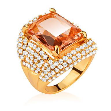Férfi Női Lány Fiú Karikagyűrűk Kristály Kocka cirkónia utánzat Diamond Divat luxus ékszer Platina bevonat Arannyal bevont Square Shape