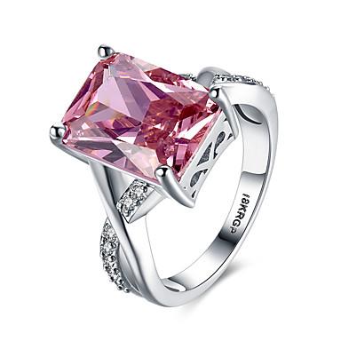 Damskie Pierścień oświadczenia Band Ring Syntetyczny Rubin Czerwony Syntetyczne kamienie szlachetne Srebro standardowe Cyrkon Imitacja