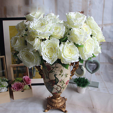 2 분기 폴리에스터 플라스틱 장미 테이블  플라워 인공 꽃