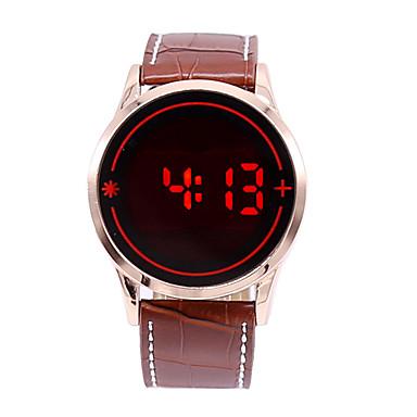 남성용 스포츠 시계 디지털 시계 디지털 터치 스크린 LED 가죽 밴드 참 블랙
