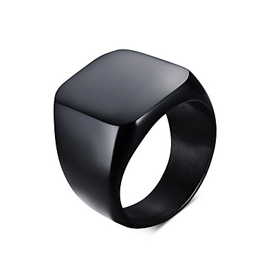 Men's Statement Ring - Titanium Steel Personalized, Vintage, European 7 / 8 / 9 Black / Silver For Daily / Casual