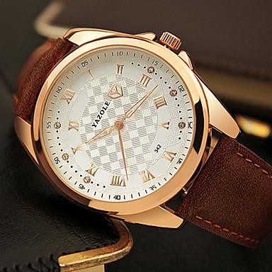 YAZOLE 남성용 패션 시계 손목 시계 석영 모조 다이아몬드 PU 밴드 멋진 캐쥬얼 블랙 브라운