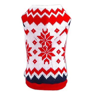 Cica Kutya Pulóverek Kapucnis felsőrész Kutyaruházat Karácsony Újévi Hópehely Piros