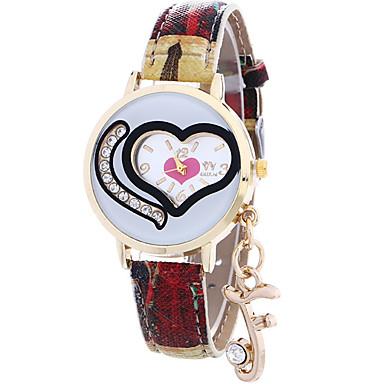 아가씨들 패션 시계 손목 시계 캐쥬얼 시계 석영 / 가죽 밴드 Heart Shape 멋진 캐쥬얼 블루 레드 그레이 퍼플