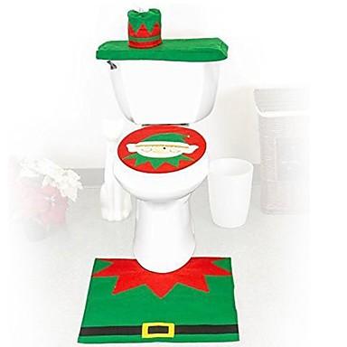 품질 플란넬 시트 커버&러그 발 패드 물 탱크 설정 수건 커버 욕실 자체 산타 클로스 크리스마스 장식